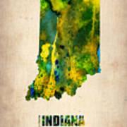 Indiana Watercolor Map Art Print by Naxart Studio