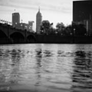 Indianapolis On The Water - Black And White Skyline Art Print