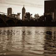 Indianapolis On The Water - Sepia Skyline Art Print