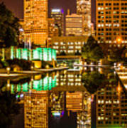 Indianapolis Skyline At Night Canal Reflection Picture Art Print by Paul Velgos