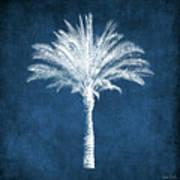 Indigo and White Palm Tree- Art by Linda Woods Art Print