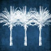 Indigo And White Palm Trees- Art By Linda Woods Art Print