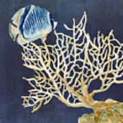 Indigo Ocean - Tan Fan Coral N Angelfish Art Print