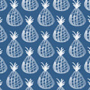 Indigo Pineapple Party Art Print