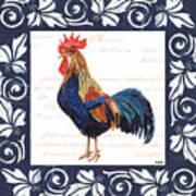 Indigo Rooster 2 Art Print
