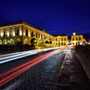 Indigo Sky And Car Lights Over Plaza Espana And Puente Nuevo Bri Art Print