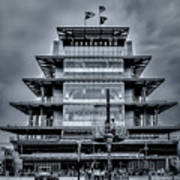 Indy 500 Pagoda - Black And White Art Print