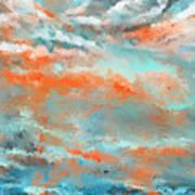 Infused Energy- Turquoise And Orange Art Art Print