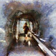 Inside An Ice Tunnel In Switzerland Art Print