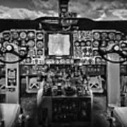 Inside The Cockpit Black And White Art Print