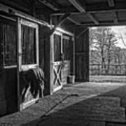 Inside The Horse Barn Black And White Art Print