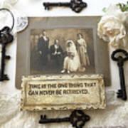Inspirational Art - Vintage Wedding Photo With Antique Keys - Inspirational Vintage Black Keys Art  Art Print