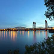 Interstate Bridge Over Columbia River At Dusk Art Print
