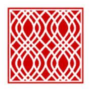Intertwine Latticework With Border In Red Art Print