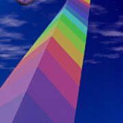 Into The Future - Rainbow Monolith And Planet Art Print