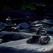 Inuksuk Stone Figures And River Art Print
