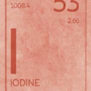 Iodine Element Symbol Periodic Table Series 053 Art Print