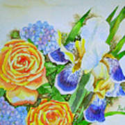Irises And Rores. Art Print
