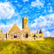 Irish Monastic Ruins Of Ross Errilly Friary Art Print