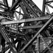Iron Bridge Close Up In Black And White Art Print