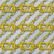 Iron Chains With Brushed Metal Seamless Texture Art Print