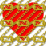Iron Chains With Heart Texture Art Print