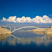 Island Of Pag Bridge And Velebit Mountain Art Print