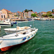 Island Of Prvic Turquoise Harbor And Waterfront View In Sepurine Art Print