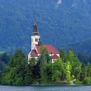 Island With Church On Bled Lake, Slovenia Art Print