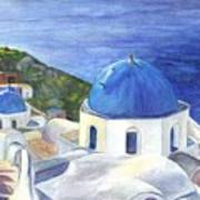 Isle Of Santorini Thiara  In Greece Art Print