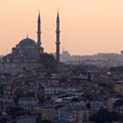 Istanbul Cityscape At Sunset Art Print by Terje Langeland
