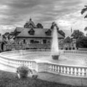 Italian Fountain Maymont B And W Art Print