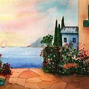 Italian Sunset Villa By The Sea Art Print