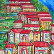 Italian Village On A Hill Art Print