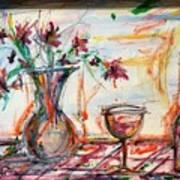 Italian Wine And Flower Vase On Table Art Print