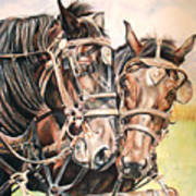Jack And Joe Hard Workin Horses Art Print