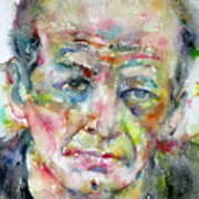 Jackson Pollock - Watercolor Portrait.3 Art Print