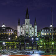 Jackson Square And St. Louis Cathedral At Dawn, New Orleans, Louisiana Art Print