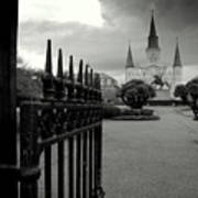 Jackson Square Gate With St. Louis Cathedral And Storm Clouds Art Print