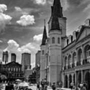 Jackson Square In Black And White Art Print