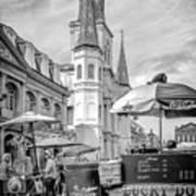 Jackson Square Scene New Orleans - Bw  Art Print