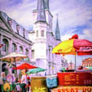 Jackson Square Scene - Painted - Nola Art Print