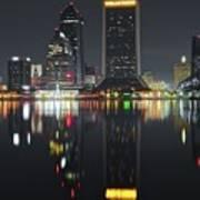 Jacksonville Black Night Lights Art Print
