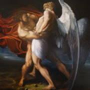 Jacob Wrestling The Angel Art Print