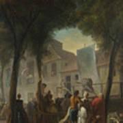 Jacques De Saint Aubin   A Street Show In Paris Art Print