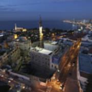 Jaffa At Night Aerial View Art Print
