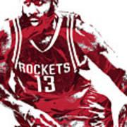 James Harden Houston Rockets Pixel Art 3 Art Print