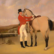 James Taylor Wray Of The Bedale Hunt With His Dun Hunter Art Print