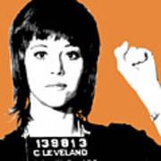 Jane Fonda Mug Shot - Orange Art Print