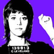 Jane Fonda Mug Shot - Purple Art Print